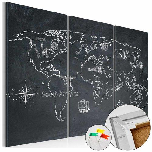 Afbeelding op kurk - Reizen Verruimt De Geest, Wereldkaart, Schoolbord look,3luik