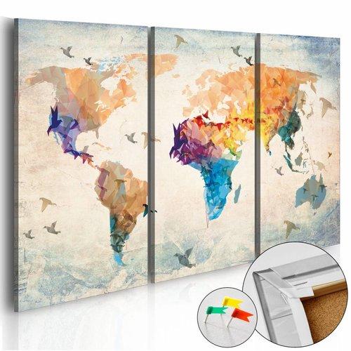 Afbeelding op kurk - Vrij Als Een Vogel, Wereldkaart, Multikleur, 3luik
