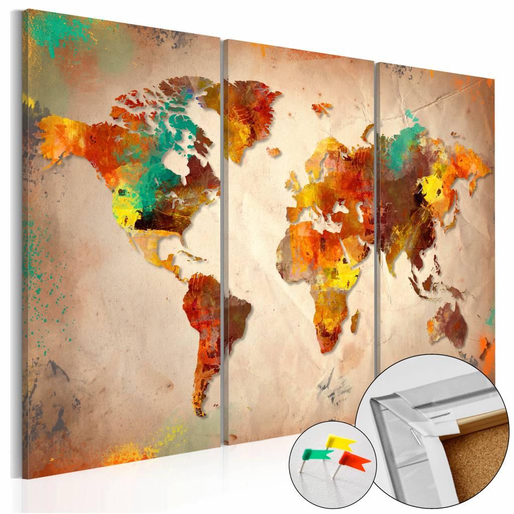 Afbeelding op kurk - Geschilderde Wereld, Wereldkaart, Bruin, 3luik