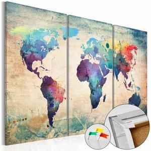Afbeelding op kurk - In kleur, wereldkaart   3 luik, Multi gekleurd, 3 Maten, 3luik