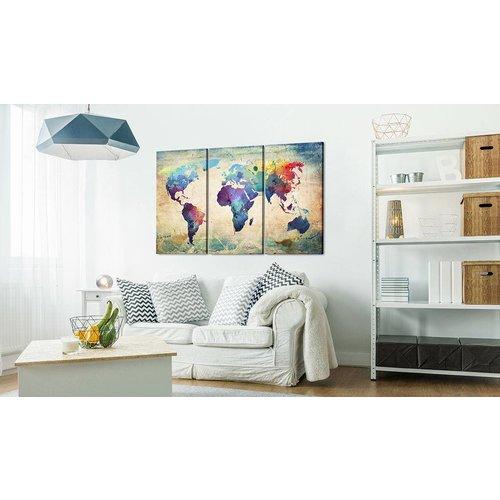 Afbeelding op kurk - In Kleur, Wereldkaart ,Multikleur,  3luik