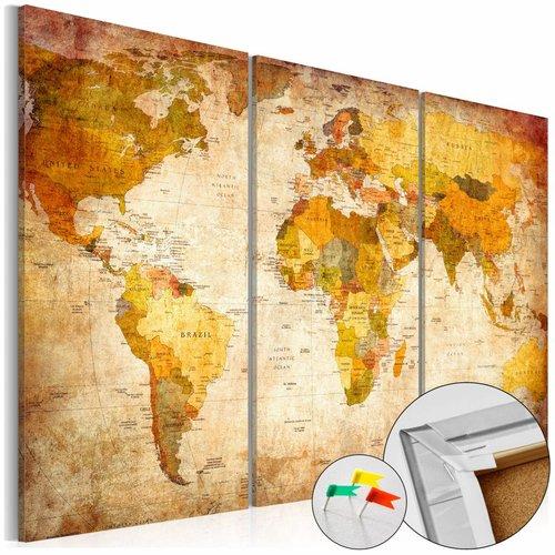 Afbeelding op kurk - Antieke Kaart, wereldkaart , Bruin,3luik