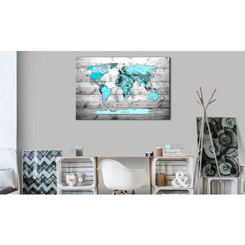 Afbeelding op kurk - Blauwe Continenten, Wereldkaart, Blauw/Grijs, Hout look op Doek,1luik