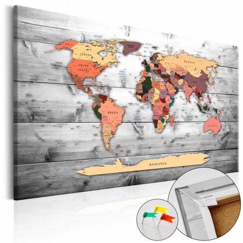 Afbeelding op kurk - Wereld op planken, wereldkaart