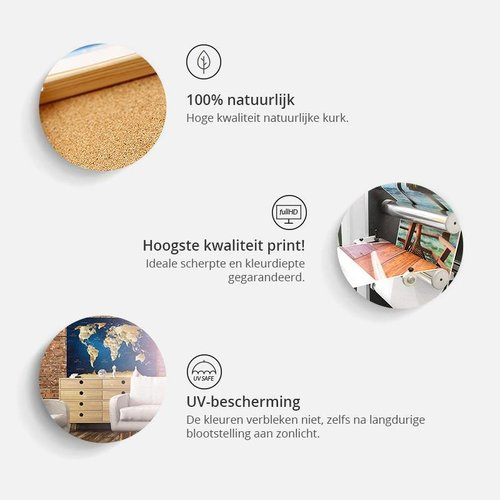 Afbeelding op kurk - Wereld op planken, wereldkaart, Oranje/Grijs, Hout Look op Doek, 3 Maten, 1luik