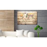 Afbeelding op kurk - Wereld Binnen Handbereik, Wereldkaart, Multikleur, Hout Look op Doek, 1luik