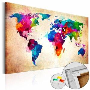 Afbeelding op kurk - Wereld in kleur, wereldkaart, Multi gekleurd, 3 Maten, 1luik