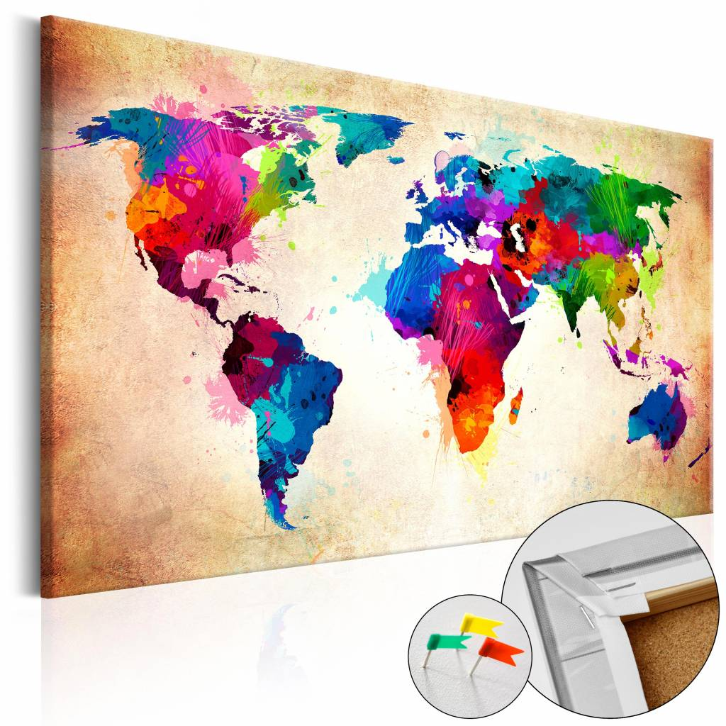 Wanddecoratie Wereldkaart Metaal.Afbeelding Op Kurk Wereld In Kleur Wereldkaart Multi Kleur