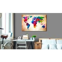Afbeelding op kurk - Wereld in kleur, wereldkaart