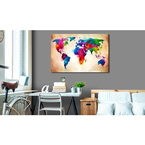 Afbeelding op kurk - Wereld in Kleur, Wereldkaart, Multi kleur,  1luik