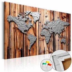 Afbeelding op kurk - Zilver op Hout, Wereldkaart , Bruin/Zilver look , 1luik