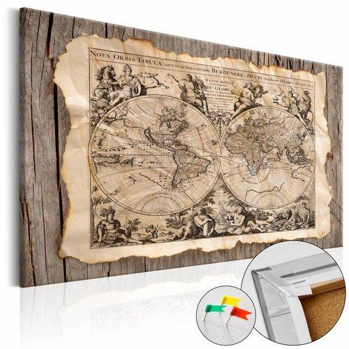 Afbeelding op kurk - Map uit het verleden, wereldkaart , beige bruin , 1 luik , 3 maten