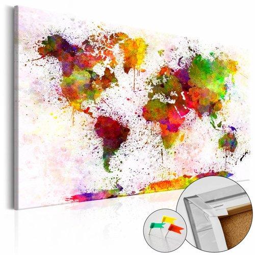 Afbeelding op kurk - Artistieke Wereld, Wereldkaart , Multi kleur , 1luik