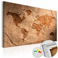 Afbeelding op kurk - Papieren kaart, wereldkaart