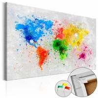 Afbeelding op kurk - Regenboog Wereld, Wereldkaart , Multi kleur , 1luik