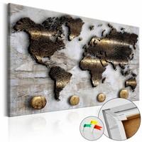 Afbeelding op kurk - Gouden Reis, Wereldkaart, Goud/Grijs, 1luik