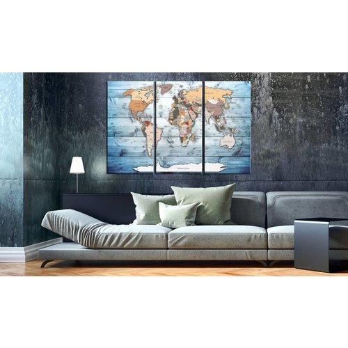 Afbeelding op kurk - Blauwe wateren, wereldkaart  3 luik, Blauw, 3 Maten