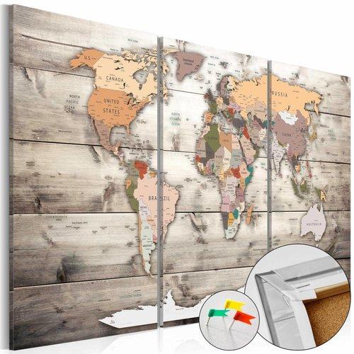 Afbeelding op kurk - Geschiedenis van het Reizen, Wereldkaart 3luik, Beige