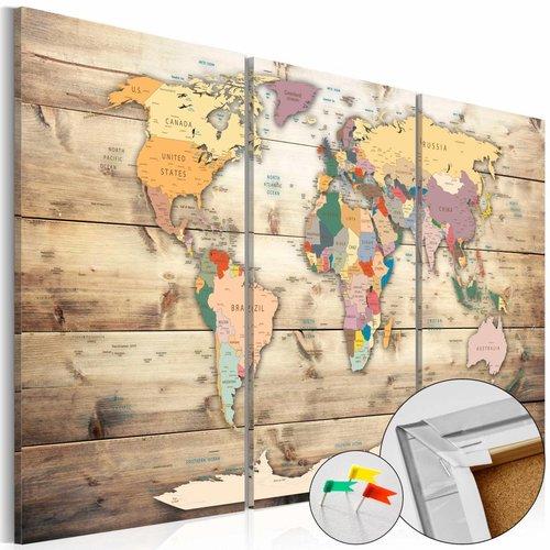 Afbeelding op kurk - Map van je dromen, wereldkaart   3-luik, Bruin, 3 Maten