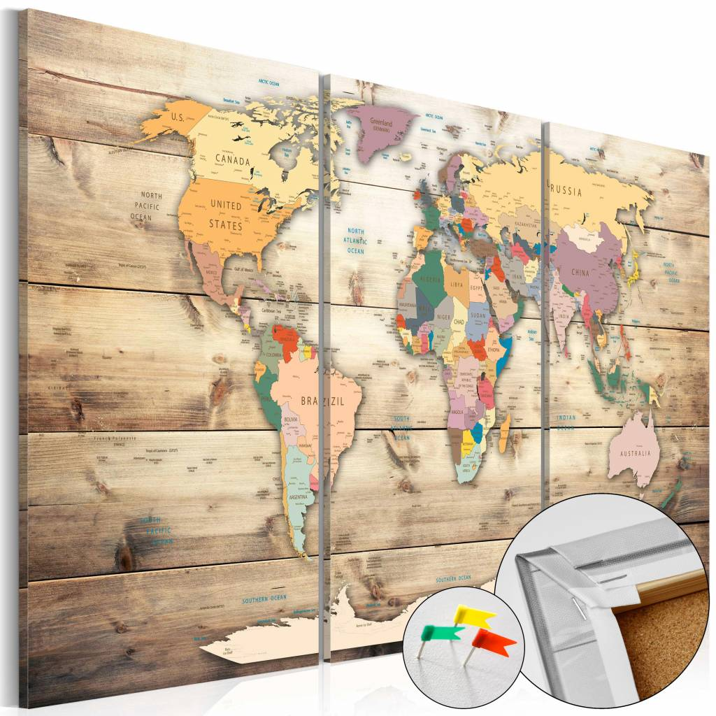 Afbeelding op kurk - Map van je Dromen, Wereldkaart 3luik, Bruin