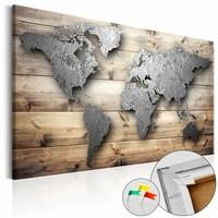 Afbeelding op kurk - Zilveren wereld, wereldkaart