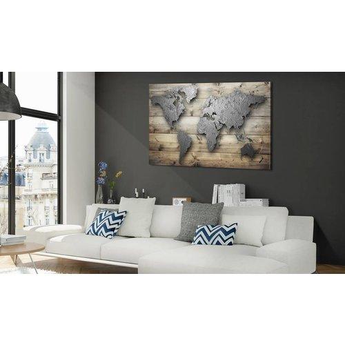 Afbeelding op kurk - Zilveren Wereld, Wereldkaart, Zilver/Bruin, 1luik