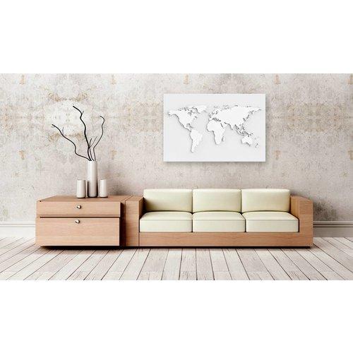 Afbeelding op kurk - Witte Wereld, Wereldkaart, Wit, 1luik