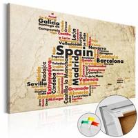 Afbeelding op kurk - Kaart van Spanje, Beige, 3 Maten, 1luik