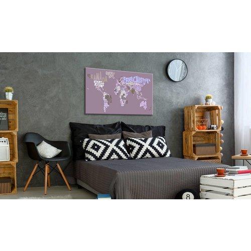 Afbeelding op kurk - Sprookjes Wereld, Wereldkaart, Paars, 1luik