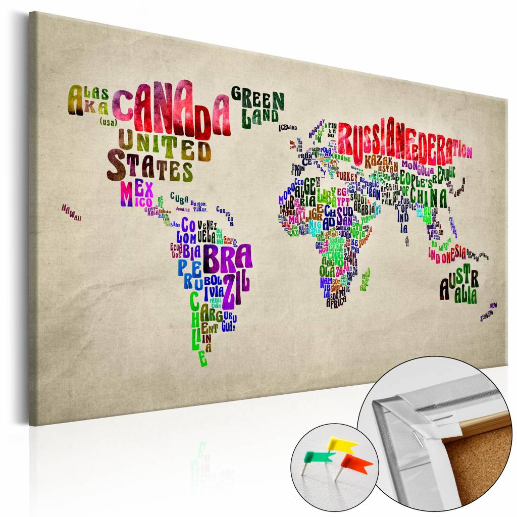 Afbeelding op kurk - Global Tourn�e , Wereldkaart, Multi kleur, 1luik
