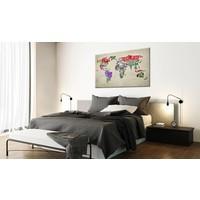 Afbeelding op kurk - Global Tournée , wereldkaart, Multi gekleurd, 3 Maten, 1luik