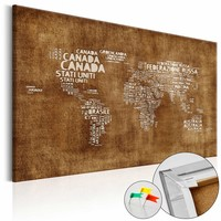 Afbeelding op kurk - De Verloren Kaart, Wereldkaart, Bruin, 1luik