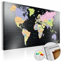 Afbeelding op kurk - De wereld in kleur, wereldkaart, Multi gekleurd, 3 Maten, 1luik