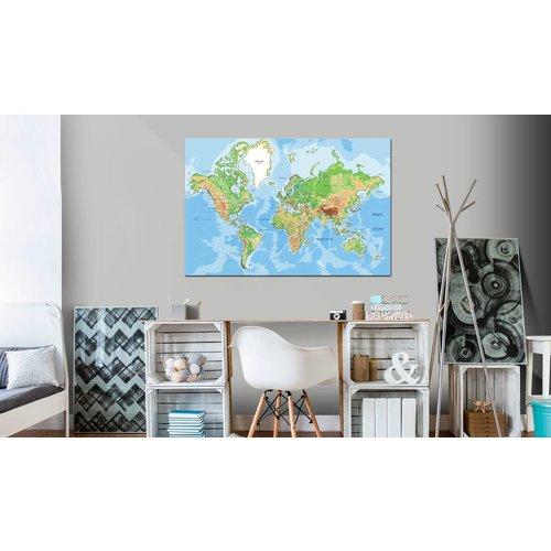 Afbeelding op kurk - De Wereld in Beeld, Wereldkaart, Multi kleur, 1luik