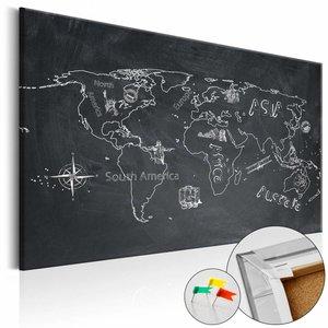 Afbeelding op kurk - Verre Reizen, Wereldkaart, Schoolbord Look, 1luik