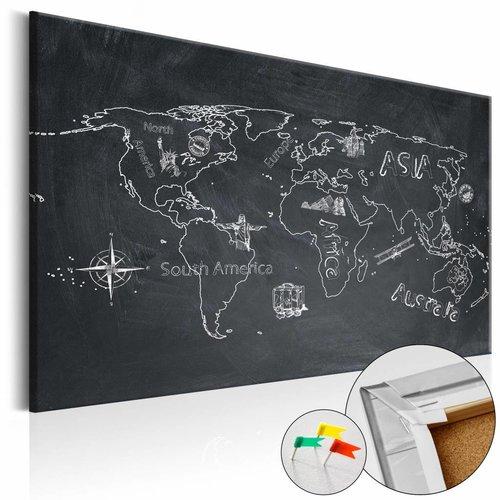 Afbeelding op kurk - Verre reizen, wereldkaart, Schoolbord Look, 3 Maten, 1luik