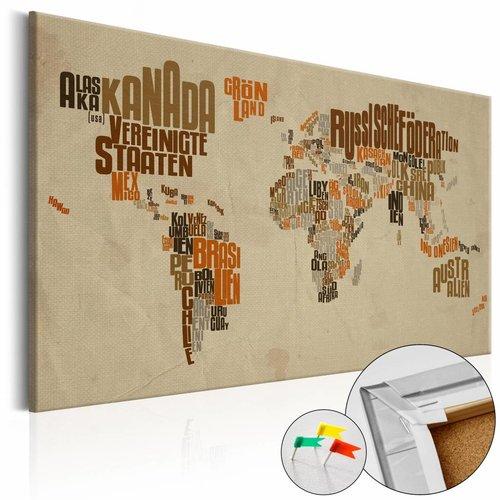 Afbeelding op kurk - Retro Map, wereldkaart, Bruin, 3 Maten, 1luik