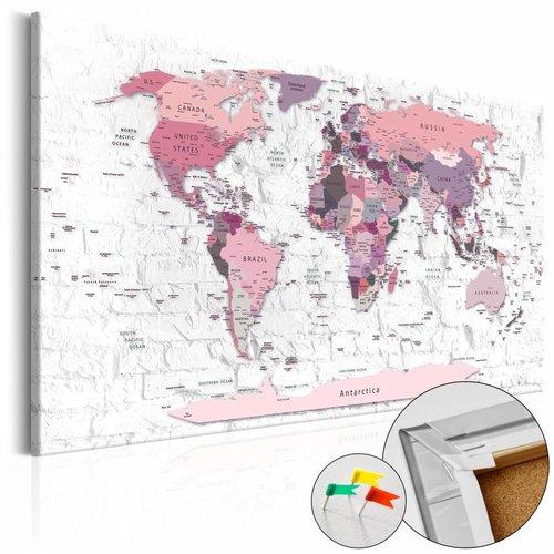 Afbeelding op kurk - Roze Grenzen, Wereldkaart,1luik