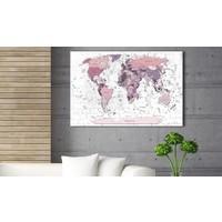 Afbeelding op kurk - Roze grenzen, wereldkaart, 3 Maten, 1luik
