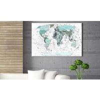 Afbeelding op kurk - Sky-blue Border, wereldkaart, Blauw/Wit, 3 Maten, 1luik