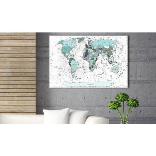 Afbeelding op kurk - Sky-blue Border, wereldkaart