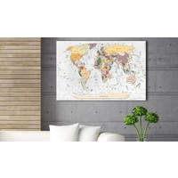Afbeelding op kurk - World's Walls , Wereldkaart, Multi gekleurd,  1luik