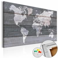Afbeelding op kurk - Grijze Aarde, Wereldkaart, Grijs, Hout Look op Doek,1luik