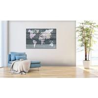 Afbeelding op kurk - De wereld op Planken, Wereldkaart, Grijs, Hout Look op Doek,  1luik