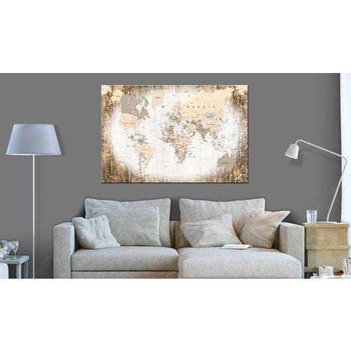 Afbeelding op kurk - Enclave van de Wereld, Wereldkaart , Wit/Beige , 1luik