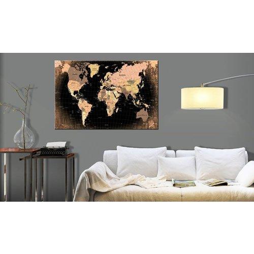 Afbeelding op kurk - Planeet Aarde, Wereldkaart, Beige/Bruin , 1luik