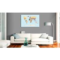 Afbeelding op kurk - Reis met mij, Wereldkaart , Blauw/Multi kleur , 1luik
