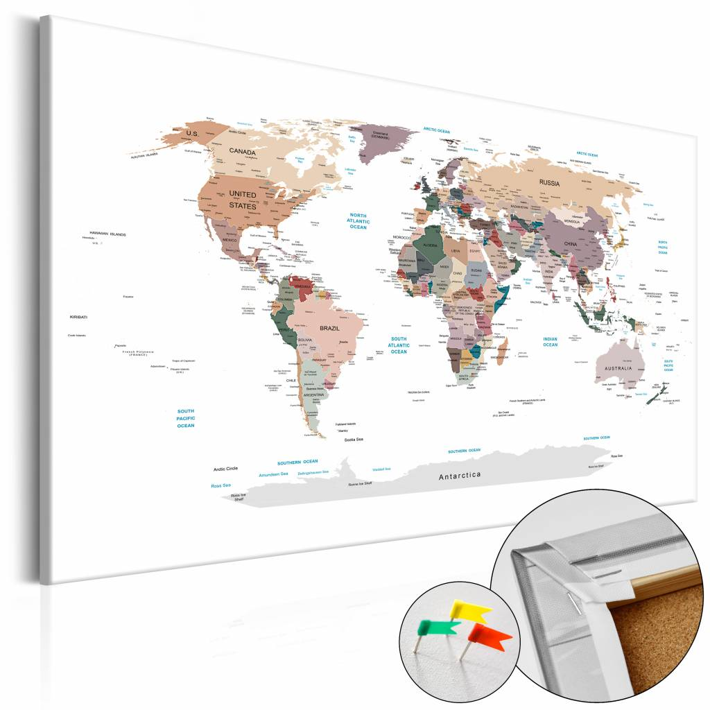Afbeelding op kurk - Waar vandaag? Wereldkaart , Wit/Multi kleur , 1 luik