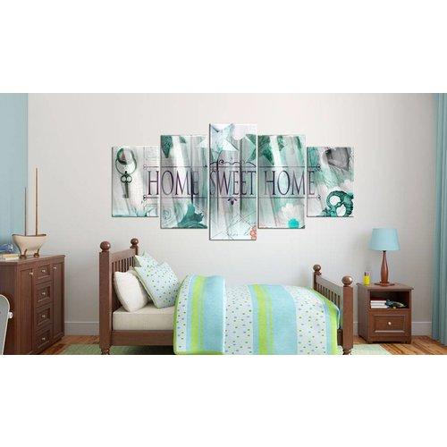 Afbeelding op acrylglas - Home sweet home III, (Mint)groen, 2 Maten, 5luik