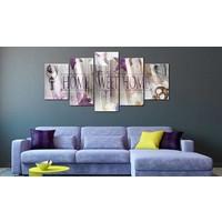 Afbeelding op acrylglas - Home sweet home II, Paars, 2 Maten, 5luik